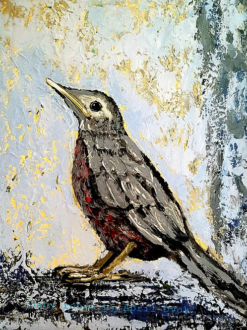 """Baby Robin - 11""""x14"""" oil painting on canvas"""