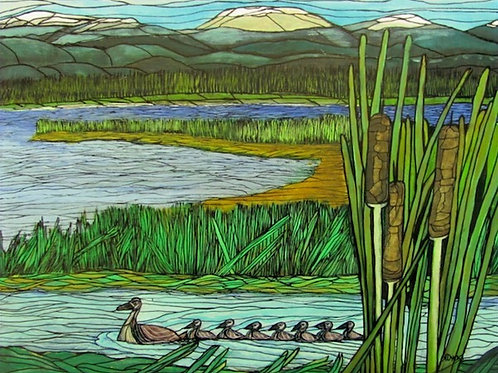 Ducks in a Row - original painting by April Dyck