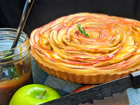 French Apple Tart with Rosemary Caramel