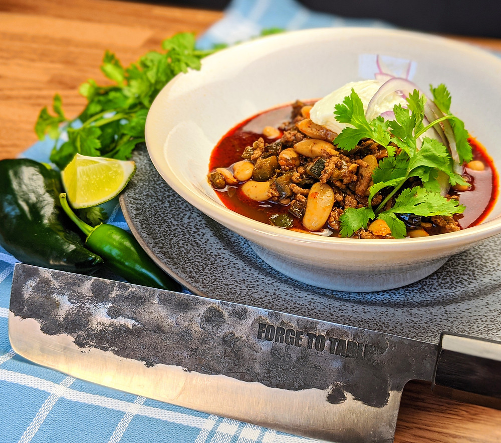 Lamb & White Bean chili with Forge To Table knife