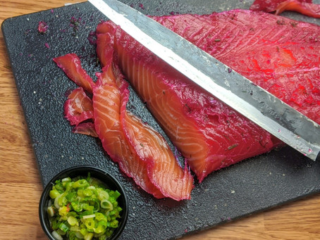 Homemade Gravlax Salmon with Green Onion Relish