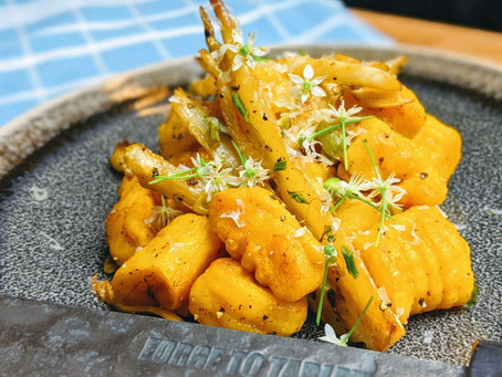Pumpkin Gnocchi with Chive Blossoms