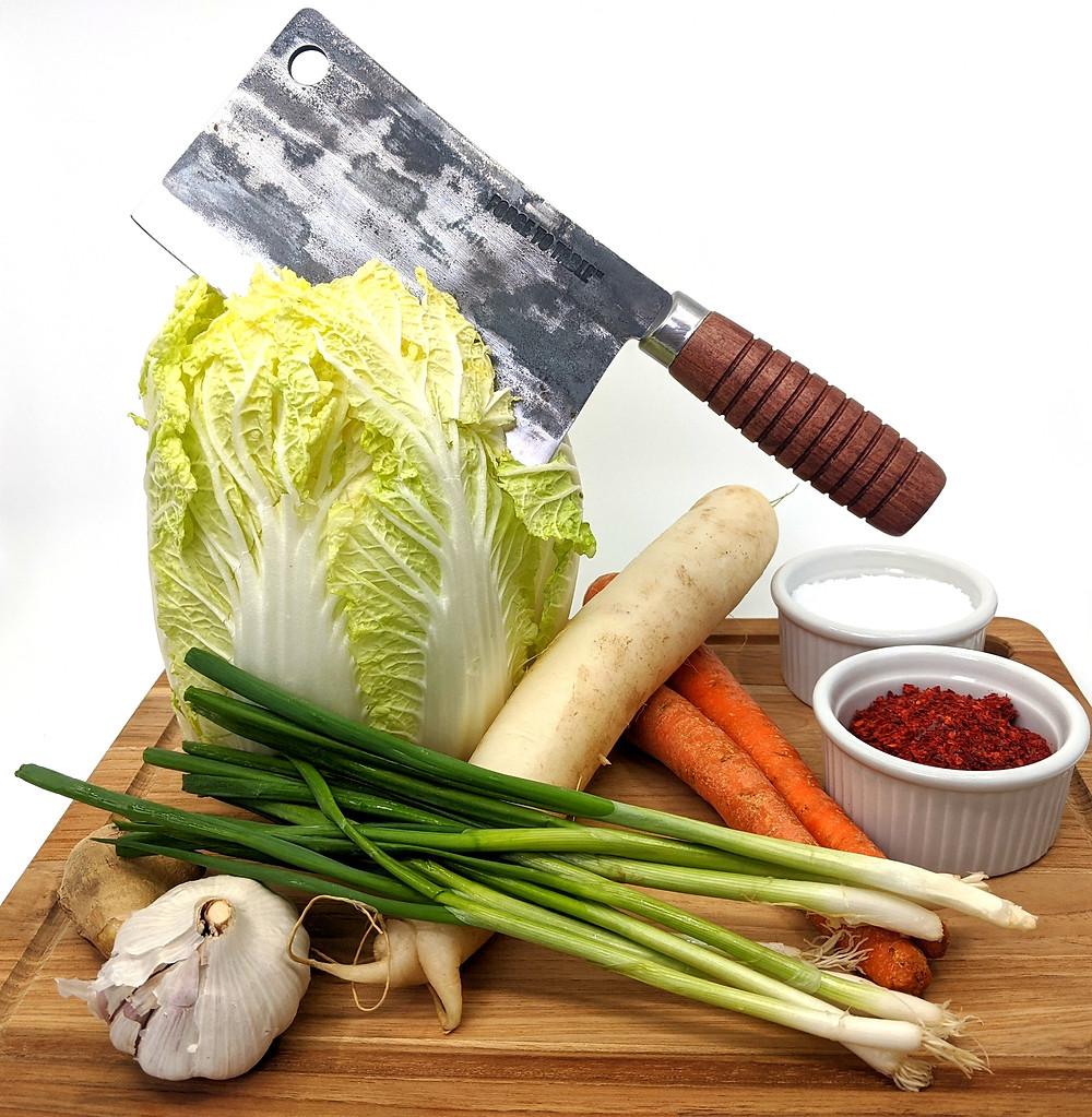 Napa cabbage, garlic, scallion, daikon radish, carrot, salt and Korean red chili flake