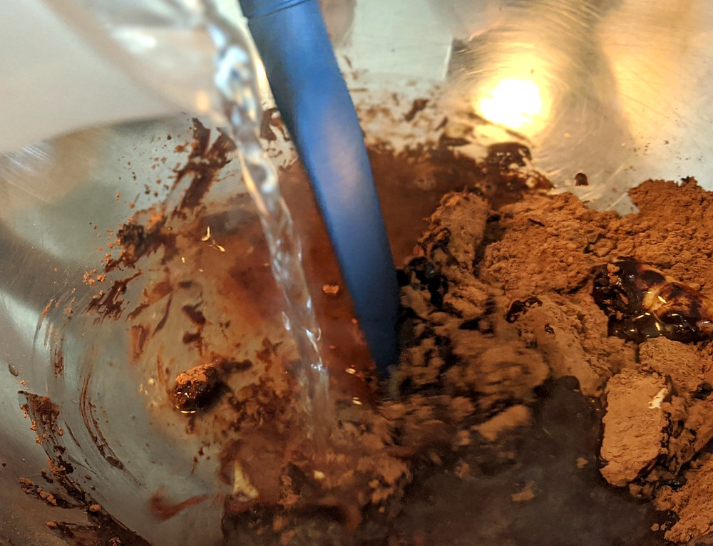 Boiling water added to butter, cocoa, chocolate, and espresso powder
