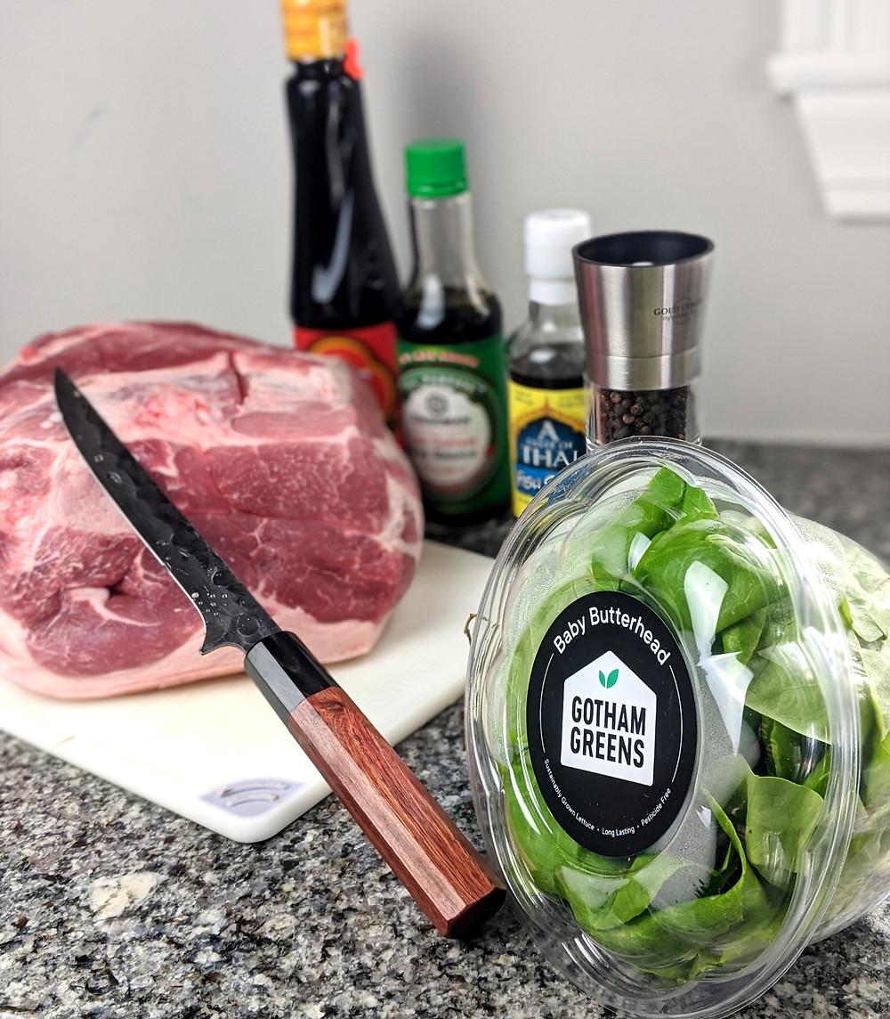 """Gotham Greens butterhead lettuce, pork shoulder and 7"""" boning knife"""