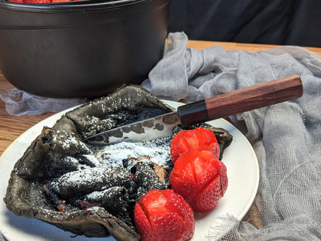 "Midnight Dutch Baby with Strawberry ""Roses"""