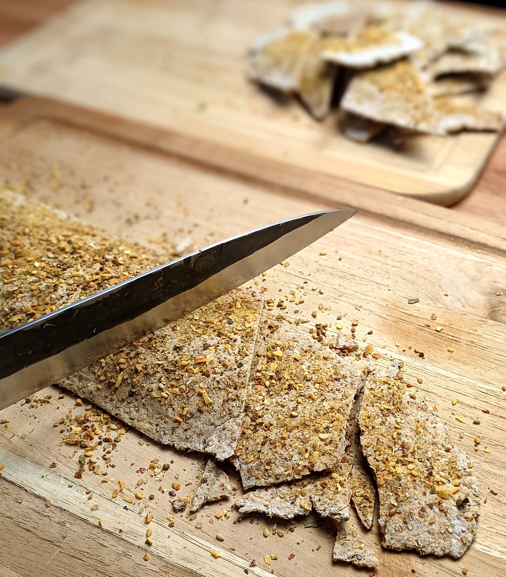 "finished crackers getting sliced with 10"" sujihiki slicerand enjoyed"