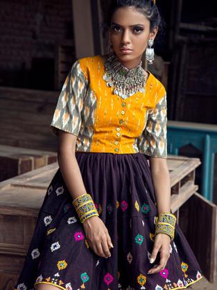 Front Placket Ikat blouse with Rabari Skirt.