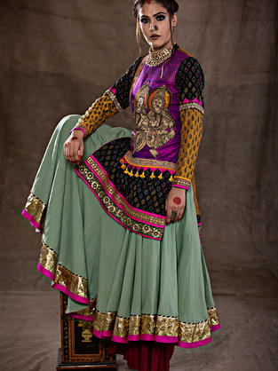 A set of heavy flared Anarkali and Short Kurta in Ikat and contrast sleeves with Krishna Radha Kalamkari Motifs in the front
