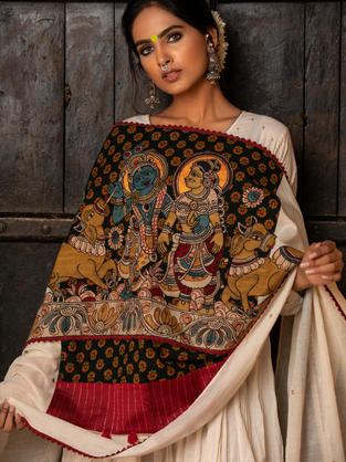 Off White Anarkali with Patchwork crafted dupatta in Kalamkari & Block Print. Mirror work all over on the dupatta