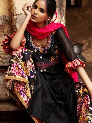 Black Chanderi Silk Suit with Multi Coloured Gujarati Aari & mirror Embroidery. Floral Digital Printed Cotton Skirt and Dupatta in pure crepe Bandhani