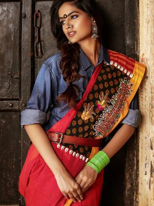 Red Checks Cotton Saree with Rabari embroidery appliqué on Block Printed Panel and Dabka embroidered motifs