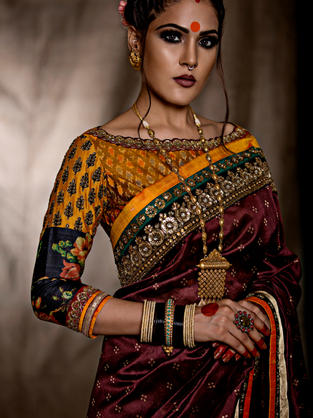 Heavy Chanderi Banarasi Saree with Multi Patch Blouse in Ikat, Embroidery and Digital Print