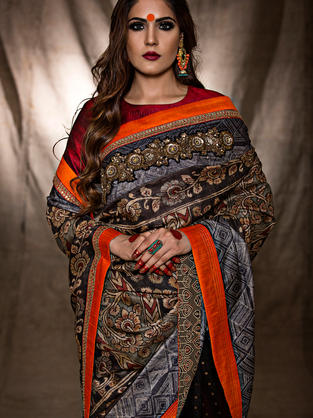 Hand Painted Kalamkari Tussar Saree with playful placements of Shibori, Solids and  embroidery