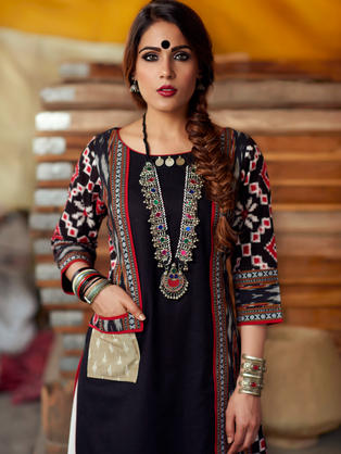 Black kurta with panels of Black, White and Red woven Ikat as an illusionary jacket with contrast pocket in beige.