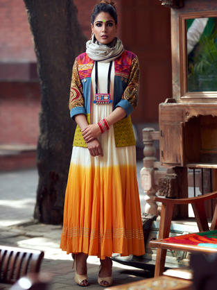 Long Length off white Flared Anarkali Suit, dip dyed in Orange teamed with multi patch cotton handloom jacket and embroidery details. Stole is just for styling the look.