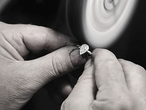 Diamond ring being polished