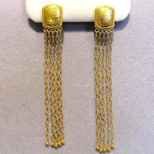 Gurhan 24K Gold Long Chain Fringe Earrings