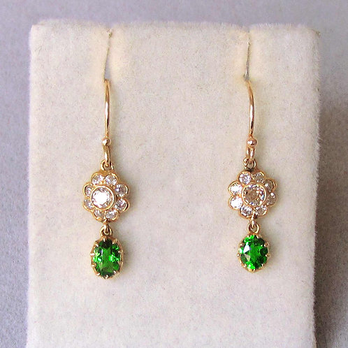 Petite Tsavorite Green Garnet and Diamond Drop Earrings