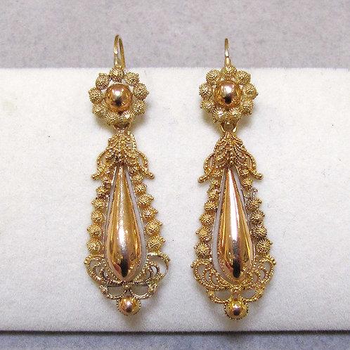 Early 19th Century 18K Rose Gold Drop Earrings