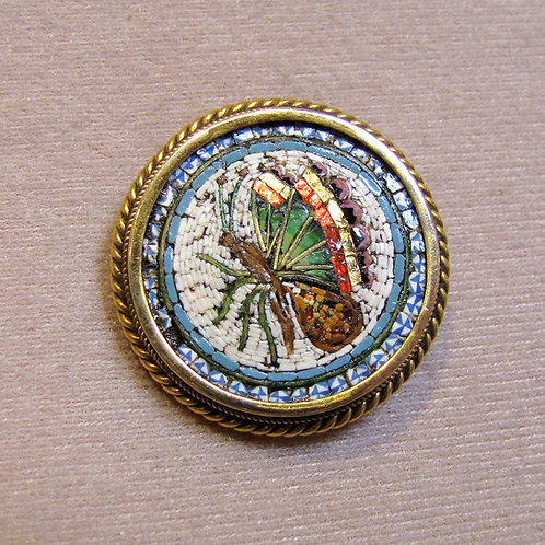 Antique Victorian Micromosaic Round Butterfly Pin