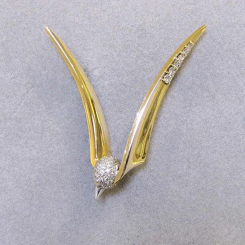 14K and Platinum Stylized Bird Brooch with Diamonds