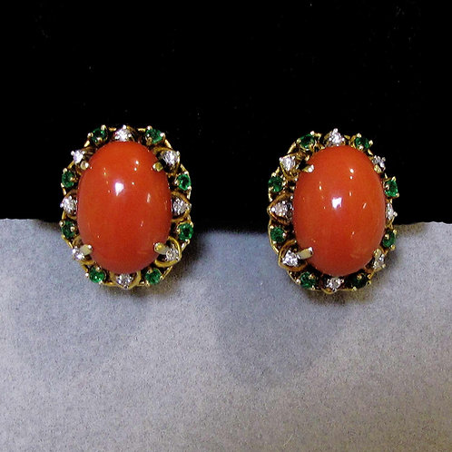 18K Red Coral, Diamond and Emerald Button Earrings