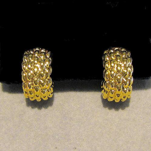 18K Fat Textured Hoop Earrings