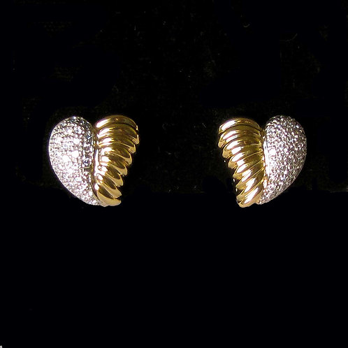 Two Tone Diamond and Polished Gold Heart Earrings