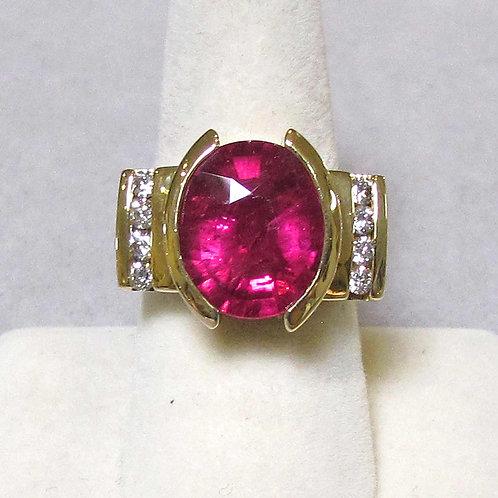 14K Oval Vivid Pink Tourmaline and Diamond Ring