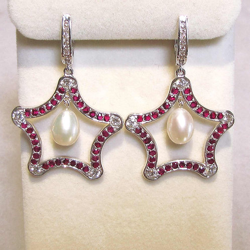 White Gold Ruby, Diamond and Pearl Star Drop Earrings