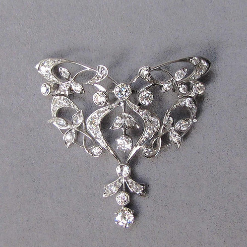 Edwardian 14K and Platinum Openwork Diamond Pin / Pendant