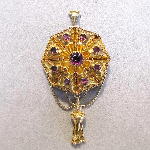 Antique 18K Etruscan Revival Pin / Pendant with Rhodolite Garnets