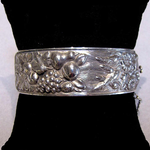Sterling Silver Hinged Bangle with Fruit and Flower Motif