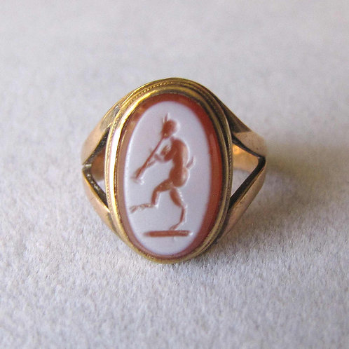 Antique Victorian Intaglio Carved Sardonyx Ring with Faun Image