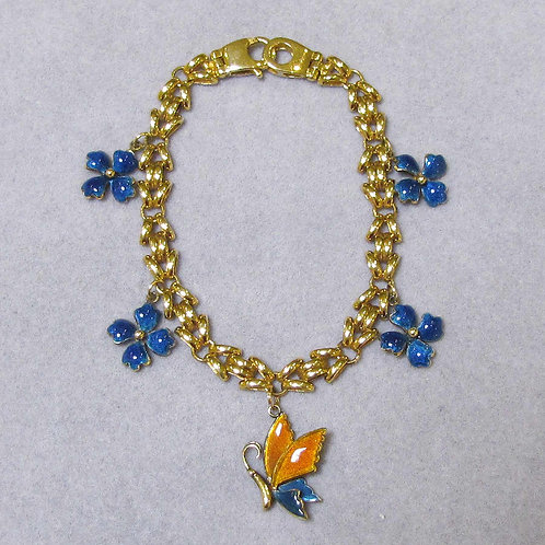18K FancyLink Charm Bracelet with Butterfly and Flowers