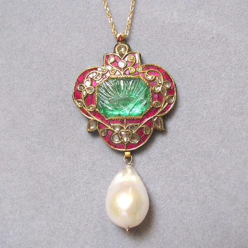 Indian 18K Emerald, Ruby, Diamond and Pearl Enameled Pendant Necklace