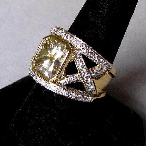 18K Fancy Brownish-Yellow Diamond and White Diamond Wide Band Ring