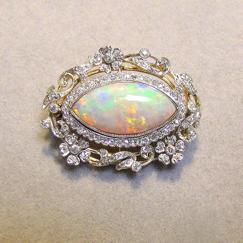 Antique Platinum Opal and Diamond Pin