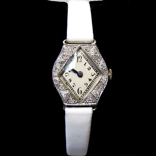 Art Deco Diamond Watch with White Leather Strap