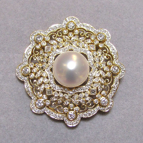 Large 18K South Sea Pearl and Diamond Pin/Pendant