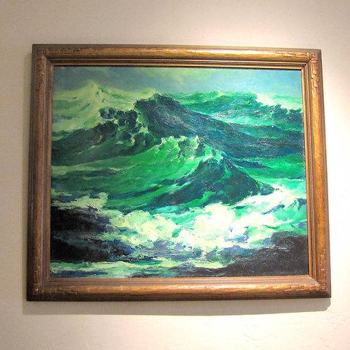 Original Seascape Oil on Board by Louis Jensen