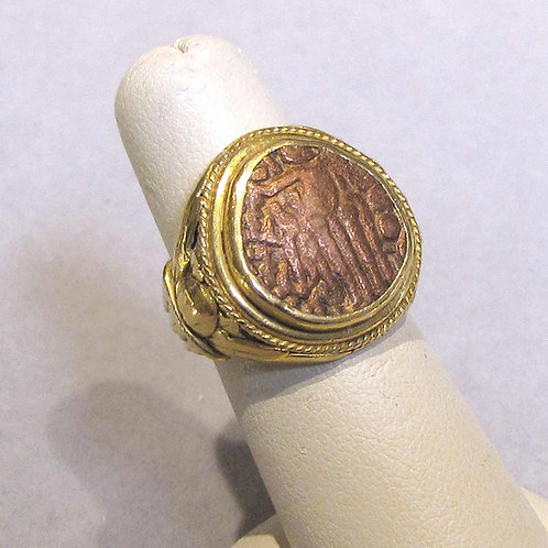 Signed 22K Ring with Ancient Copper Coin