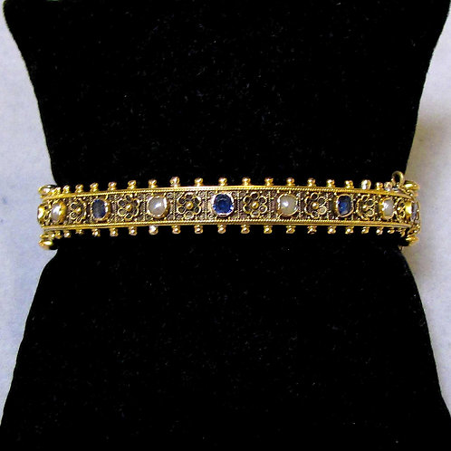 Victorian 18K Sapphire and Pearl Hinged Bangle Bracelet