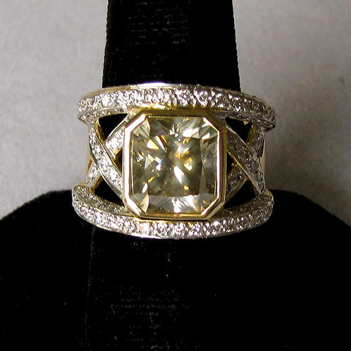 18K Fancy Brownish-Yellow Diamond and White Diamond Wide Band Ring
