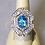 Thumbnail: Large Modern 18K Blue Topaz and Diamond Cocktail Ring