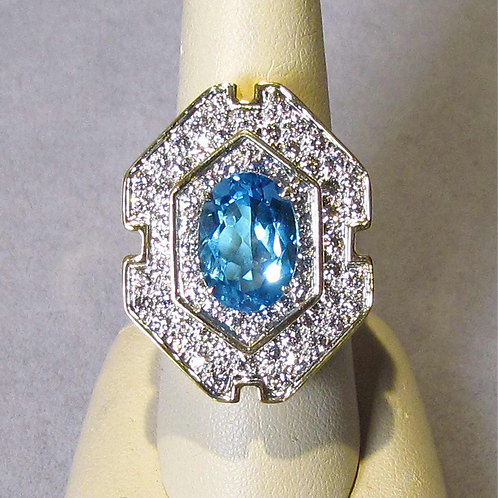 Large Modern 18K Blue Topaz and Diamond Cocktail Ring