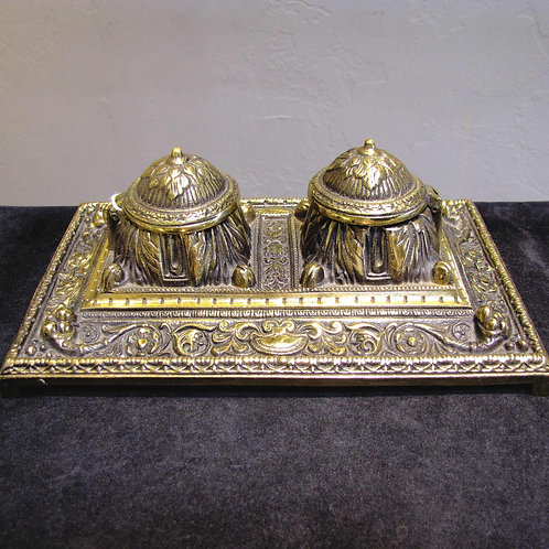 Vintage Brass Inkwell with Ceramic Inserts