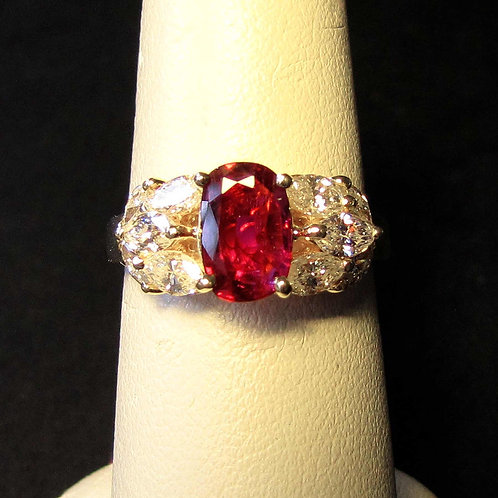 18K Oval Ruby and Marquise Diamond Ring