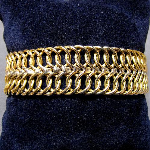 Wide Gold Woven Link Bracelet